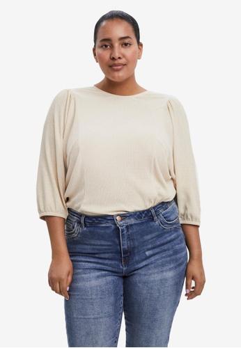 Vero Moda beige Plus Size Rosi 3/4 Sleeved Blouse 81986AA7FD1C41GS_1