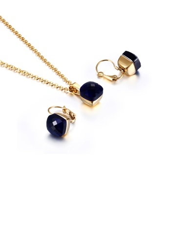 Glamorousky blue Fashion and Simple Plated Gold Geometric Square 316L Stainless Steel Necklace and Earrings Set with Blue Cubic Zirconia 76EC8AC0C06AF6GS_1
