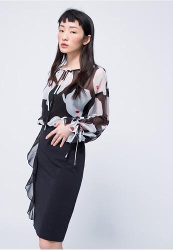 iROO black Ruffle Skirt F9619AA928C4DAGS_1