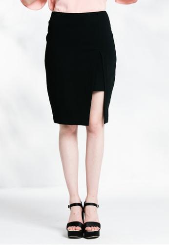 Les Premieres black Pencil Slit Skirt AF383AA56E4133GS_1