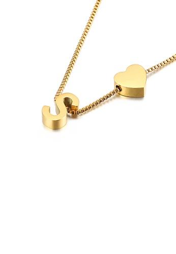 Glamorousky 銀色 時尚簡約鍍金色心形英文字母S 316L鋼吊墜配項鏈 EE674ACA140790GS_1