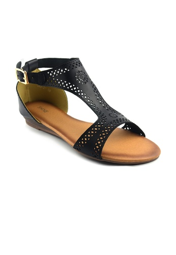 SHINE black CUT WORK SANDALS SH554SH71SYISG_1