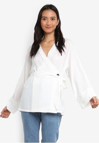 ZALORA white Long Sleeves Self Tie Top 414B0AA47B8996GS_1