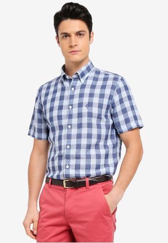Brooks Brothers 藍色 短袖格紋襯衫 3AC8BAACEDDF15GS_1