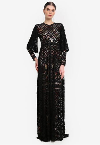 Rizalman for Zalora black and multi Bindusara Maxi Dress Lace RI909AA0SEYKMY_1
