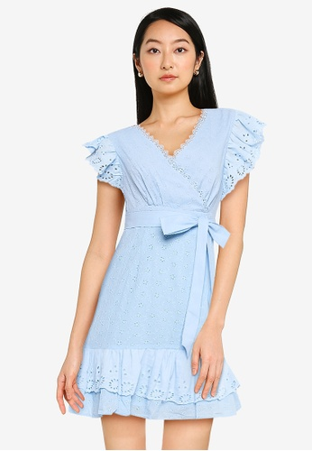 ZALORA BASICS blue Ruffle Front Eyelet Dress 77630AAAC3480BGS_1