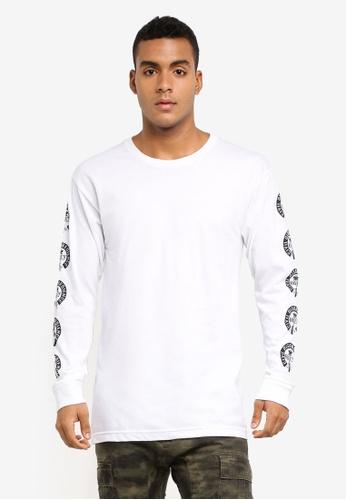 OBEY 白色 印花滾邊長袖T恤 F3589AA63FDB0EGS_1