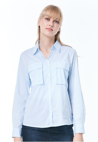 United Colors of Benetton blue Yarn Dyed Patterned Shirt 44AEFAA51E5AB0GS_1