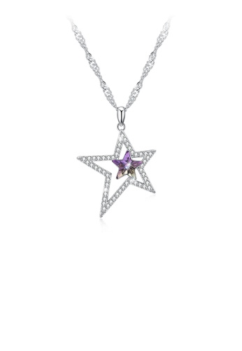 Glamorousky purple 925 Sterling Silver Star Pendant with Austrian Element Crystal and Necklace 1A83AAC7EE9A59GS_1