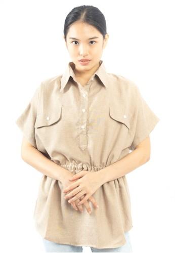 Heart and Feel brown Waist Ruffle Top 2AAEEAA806D0BCGS_1