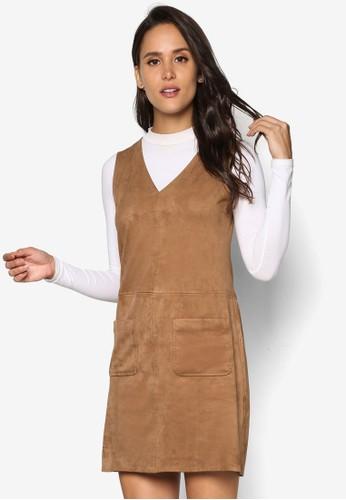 zalora 鞋評價雙口袋麂皮無袖連身裙, 服飾, 洋裝