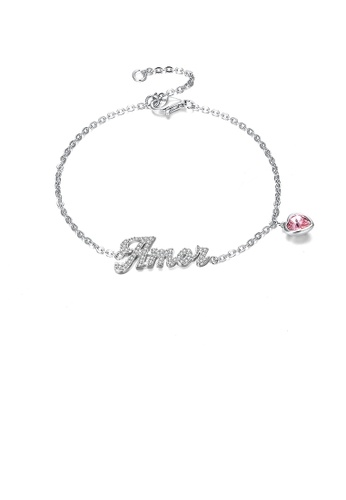Glamorousky white 925 Sterling Silver Simple Letter Amor and Pink Heart Bracelet with Austrian Element Crystal 55B6FACB540777GS_1