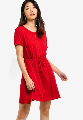 Something Borrowed red Ruffles Trim Mini Dress E66DCAA2CD76C5GS_1