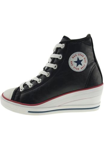 Maxstar Maxstar Women's 7H Zipper PU Low Wedge Heel Sneakers US Women Size MA168SH75CHCHK_1