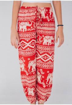 Elephant Patterned Harem Pants