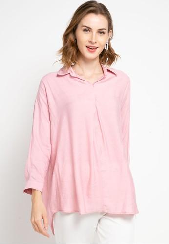 SIMPLICITY pink Plain Collar Blouse 59A0CAAD741164GS_1