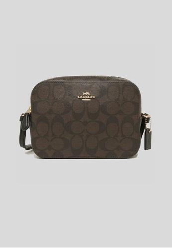Coach black and brown Coach Mini Camera Bag In Signature Canvas Brown Black 91677 D712FAC53F2093GS_1