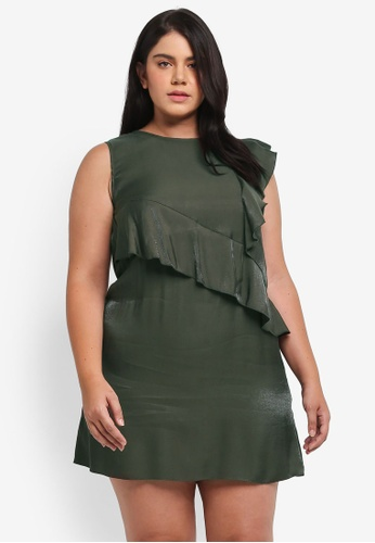 ELVI green Plus Size Khaki Multi Frill Shift Dress EL779AA0T1P0MY_1