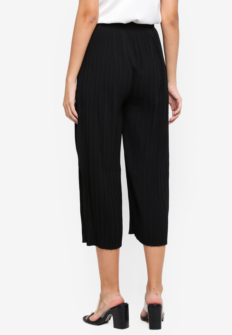 Waist Culottes Black With Pleated MISSGUIDED Skinny Tie Bq7HnAR