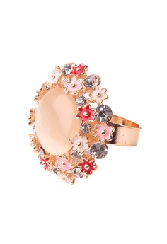 Cherry Blossom Cocktail Ring in Red