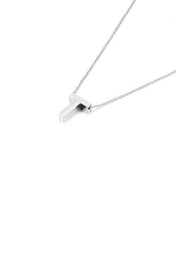 Glamorousky silver Simple Temperament English Alphabet T 316L Stainless Steel Pendant with Necklace C9F2CAC8C46C3BGS_1