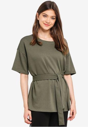 JACQUELINE DE YONG green Frida 2/4 Tie Sweatshirt 0DD60AA9D6E3F6GS_1