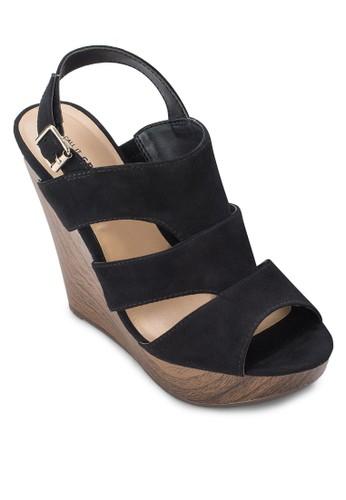 Vizalora 內衣dotto 露趾繞踝楔型跟鞋, 女鞋, 鞋