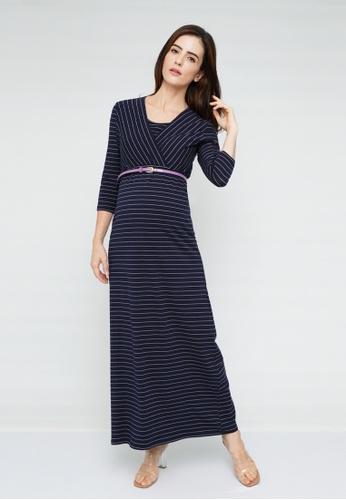 9months Maternity navy Navy Striped Overlap Nursing Maxi Dress 7332AAA62DDC00GS_1