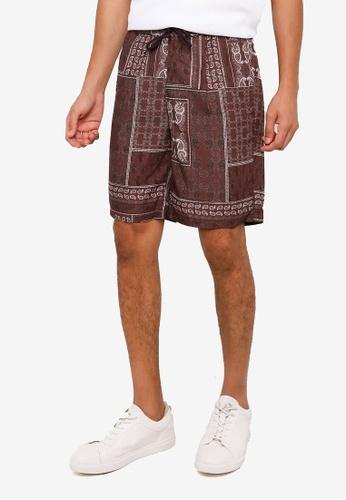 RAGEBLUE brown Print Shorts 70D0DAAD75DE37GS_1