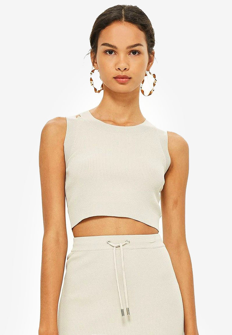 Crop Grey TOPSHOP Detail Strap Top EqxxwzUfR