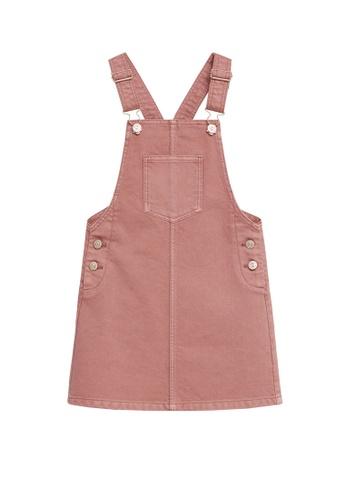 MANGO KIDS pink Pocket Denim Pinafore Dress 323FBKABDCC6AAGS_1