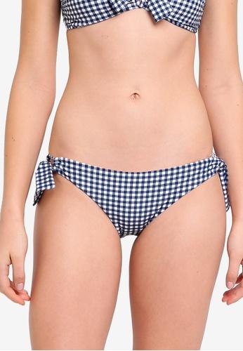 Seafolly blue Capri Check Loop Tie Side Hipster Bikini Bottom CB724US9D85CB9GS_1