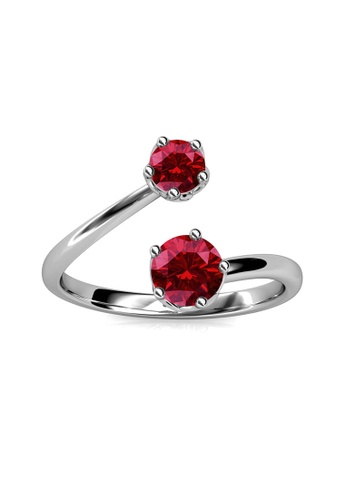 Her Jewellery red Birth Stone Ring (January) - Made with premium grade crystals from Austria 7338FACED38995GS_1