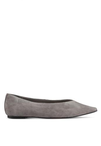 TOPSHOP 灰色 麂皮平底鞋 8C169SH463C9C2GS_1