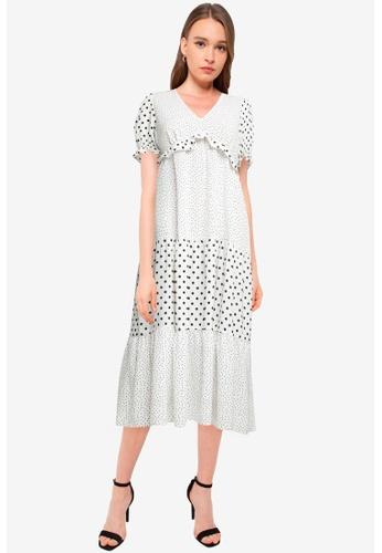 Miss Selfridge white White Mixed Spot Frill Midi Dress 72C4DAAFD67A45GS_1