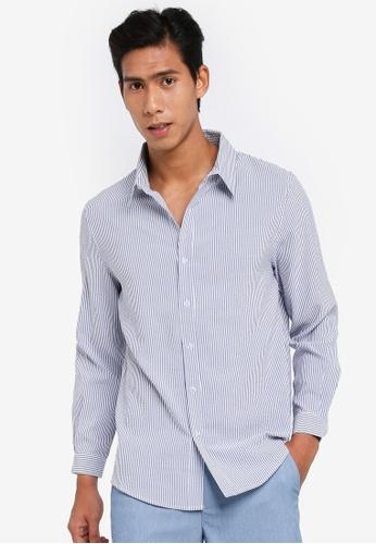 ZALORA BASICS multi Seersucker Long Sleeve Collar Shirt C74F8AA1F4BFC4GS_1