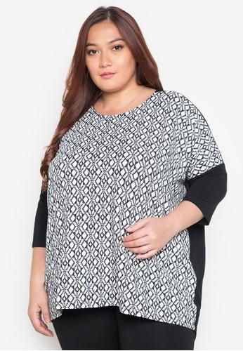 Maldita X black and white Irley Plus Size Combi Blouse MA587AA0JCI4PH_1