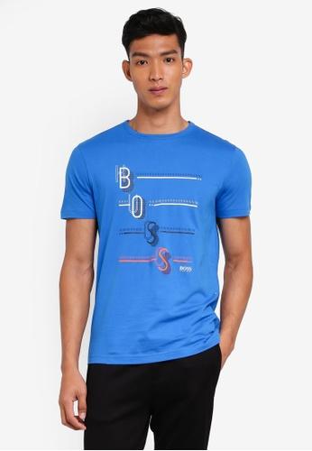 BOSS 藍色 短袖印花T恤 DBFB1AACA469EFGS_1