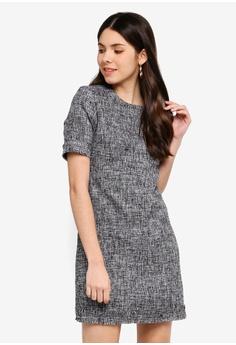 739bea72a74d JULY grey Celine Tweed Midi Dress 7C208AA227ECD6GS_1