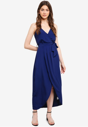 Something Borrowed navy Wrap Midi Dress With Self Tie 0BC0FAACACC7DFGS_1