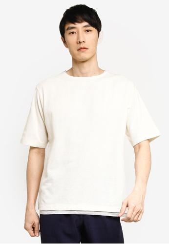 GLOBAL WORK white Layered Knit T-Shirt 450DBAA64C4465GS_1