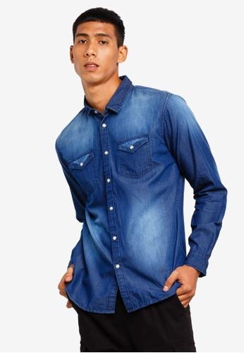 Brave Soul 藍色 丹寧長袖襯衫 4CB08AA73D24C7GS_1