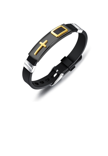 Glamorousky silver Fashion Classic Golden Cross Plated Black Rectangular 316L Stainless Steel Silicone Bracelet 71989ACAA85E79GS_1