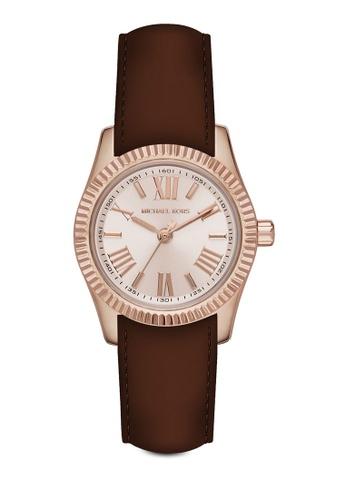 MICHAEL KORS brown Michael Kors Petite Lexington Dark Brown Leather Watch MI165AC93ZGGMY_1