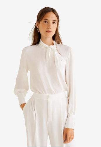 Mango 白色 綁帶領上衣 7B613AA414AA66GS_1