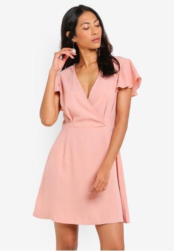 ZALORA BASICS pink Basic Short Sleeves Wrap Dress BDE24AA3183462GS_1