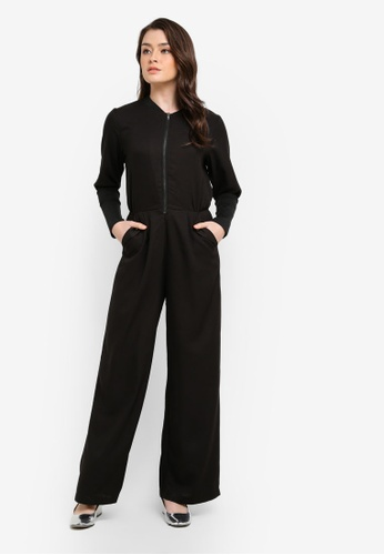 Zalia black Front Zipper Long Rib Cuff Jumpsuit FC1AAAAEB728A1GS_1
