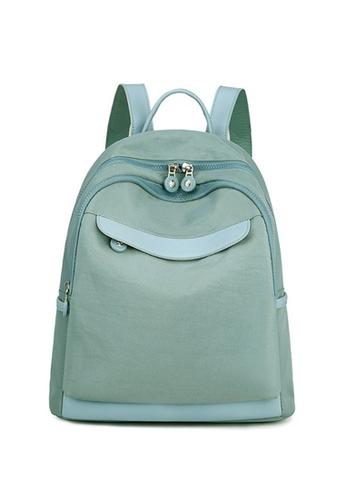 Lara blue Women's Leisure Light-weight Nylon Zipper Backpack - Blue 065F6AC48C88C3GS_1