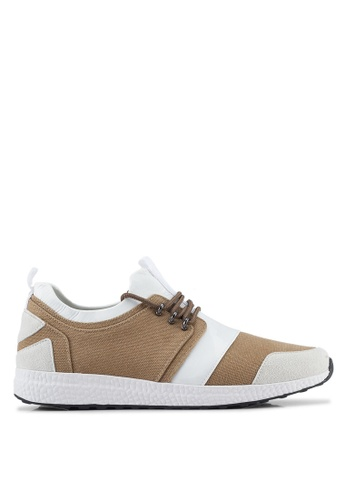 ZALORA brown Mix Material Canvas Sneakers 0F478SH2F1841FGS_1