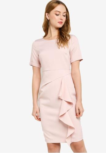 ZALORA WORK pink Waterfall Detail Dress F3FD4AA6AA773AGS_1
